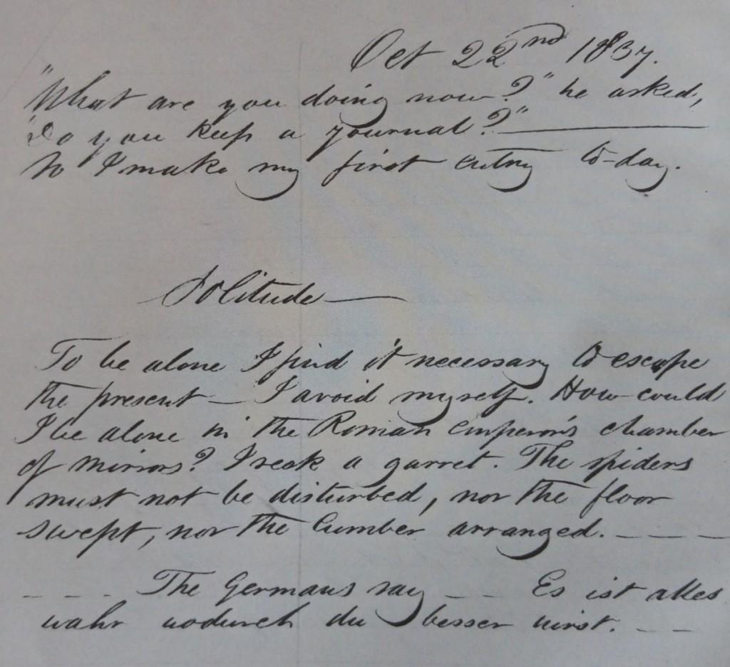 Die Originalseite der ersten Eintragung im Tagebuch.